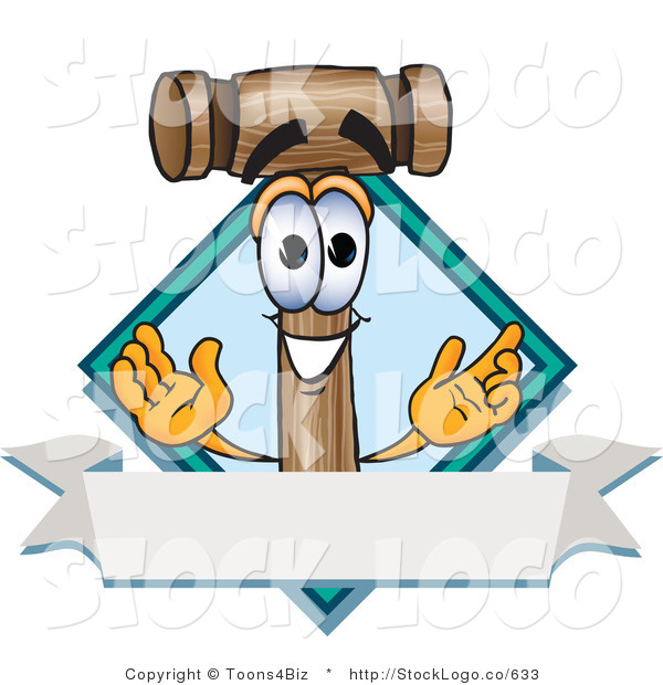 Vector Logo of a Smiling Wood Mallet Mascot Cartoon Character with a Blank Label