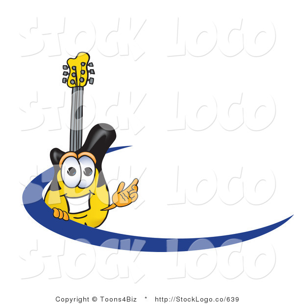 Vector Logo of a Smiling Yellow and Black Guitar Mascot Cartoon Character Logo with a Blue Dash