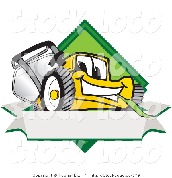 Vector Logo of a Smiling Yellow Lawn Mower Mascot Cartoon Character Facing Front on a Diamond Shaped Logo with a Blank White Banner