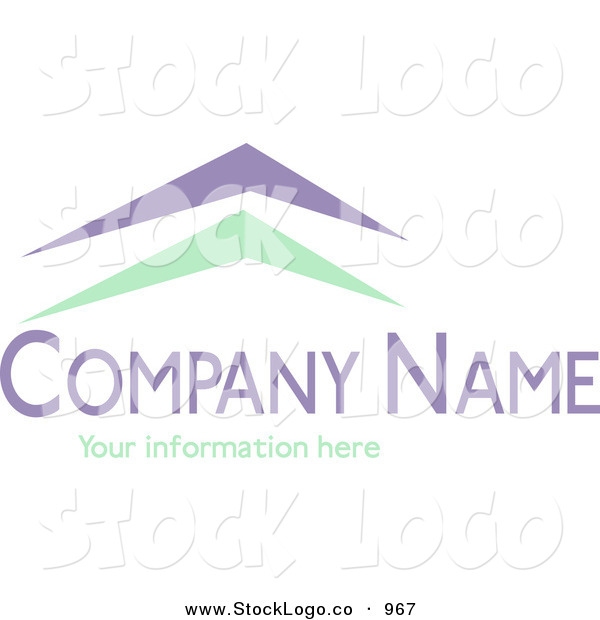 Vector Logo of a Stock Logo of Green and Blue Arches Resembling Roofs Above Space for a Company Name and Information on White