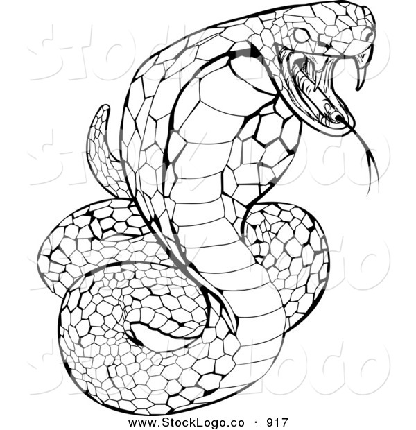 Vector Logo of a Striking Venomous Cobra Snake Hissing