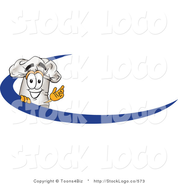Vector Logo of a White Cook Hat Mascot Cartoon Character on an Employee Name Tag with a Blue Dash