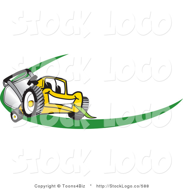 Vector Logo of a Yellow Lawn Mower Mascot Cartoon Character Facing Front on a Logo or Nametag with a Green Swoop