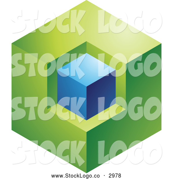 Vector of a 3d Abstract Green and Blue Cube Logo