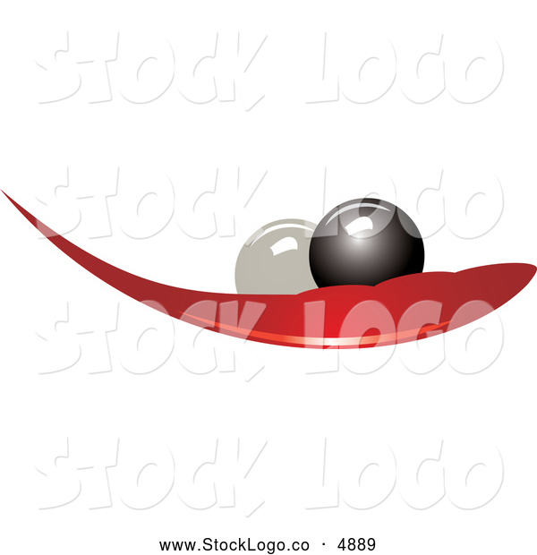 Vector of a Black and White Pearls on a Red Leaf Logo