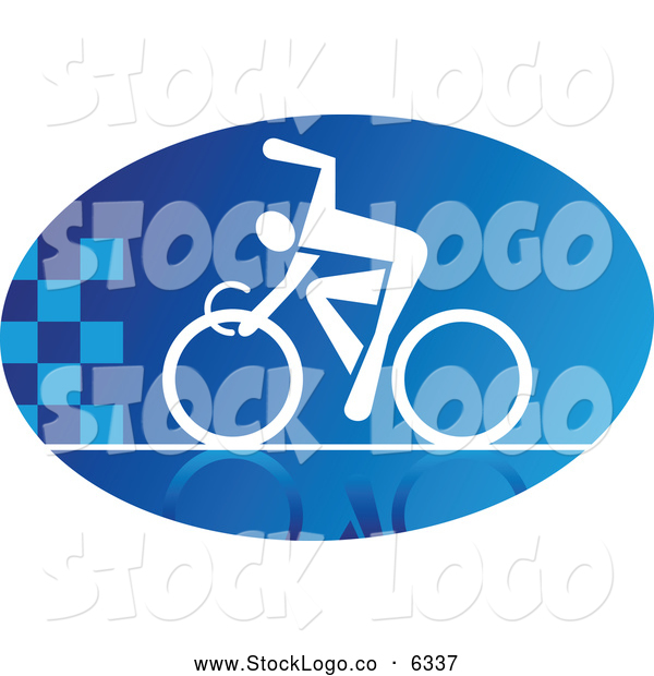 Vector of a Blue and White Oval Cyclist Logo