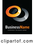 3d Vector Logo of a Shiny Pre-Made Logo of Two Orange and Chrome Rings, Above Space for a Business Name and Company Slogan on Black by Beboy