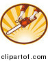 Clipart of a Hands Operating a Chainsaw over Sunshine Logo by Patrimonio