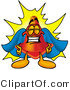 Logo of a Proud Traffic Cone Mascot Cartoon Character Dressed As a Super Hero by Toons4Biz