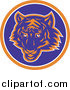 Vector Clipart of a Blue and Orange Tiger Circle Logo by Patrimonio