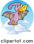 Vector Clipart of a Flying Purple Pterodactyl Logo by Visekart