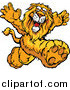 Vector Clipart of a Happy Lion Mascot Running Upright by Chromaco