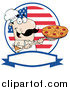 Vector Clipart of a Pizzeria Chef Holding a Pizza on a Scooper Above, with an American Flag and Blank Label by Hit Toon