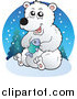 Vector Clipart of a Polar Bear Holding a Fish Logo by Visekart