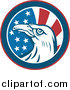 Vector Clipart of a Round American Eagle and Flag Circle Logo by Patrimonio