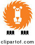 Vector Clipart of a White, Orange and Black Lion Logo by Vector Tradition SM