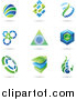 Vector Clipart of Blue and Green Logos with Shadows by Cidepix