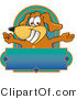 Vector Logo of a Brown Dog Mascot Cartoon Character with Open Arms Above a Blank Blue Label by Toons4Biz