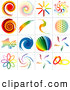 Vector Logo of a Digital Collage of Rainbow Logo Designs, on White by Dero