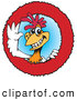 Vector Logo of a Friendly Red and White Rooster Character Logo by Dennis Holmes Designs
