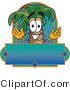 Vector Logo of a Happy and Smiling Palm Tree Mascot Cartoon Character over a Blank Business Label by Toons4Biz