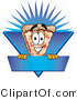 Vector Logo of a Happy Cheese Pizza Mascot Cartoon Character on a Blank Blue Label by Toons4Biz
