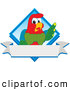 Vector Logo of a Happy Macaw Parrot Character Mascot Diamond Logo by Toons4Biz