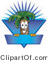 Vector Logo of a Happy Palm Tree Mascot Cartoon Character over a Blank Blue Business Label with a Burst by Toons4Biz