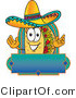 Vector Logo of a Hispanic Taco Mascot Cartoon Character over a Blank Banner by Toons4Biz