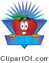 Vector Logo of a Nutritious Red Apple Character Mascot Label with a Burst by Toons4Biz
