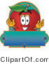Vector Logo of a Nutritious Red Apple Character Mascot with a Blue Rectangle by Toons4Biz