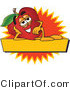 Vector Logo of a Nutritious Red Apple Character Mascot with a Yellow Label by Toons4Biz