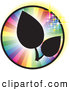 Vector Logo of a Pair of Black Silhouetted Leaves on a Sparkling Rainbow Circle by Kaycee