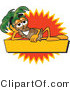 Vector Logo of a Palm Tree Mascot Cartoon Character over a Rectangular Blank Yellow Business Label with an Orange Burst by Toons4Biz