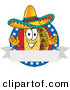 Vector Logo of a Patriotic Taco Mascot Cartoon Character over a Blank White Banner on an American Themed Business LogoPatriotic Taco Mascot Cartoon Character over a Blank White Banner on an American Themed Business Logo by Toons4Biz