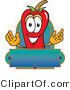 Vector Logo of a Red Hot Chili Pepper Mascot Cartoon Character with a Blank Blue Label by Toons4Biz