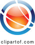 Vector Logo of a Reflective Blue and Orange Orb Logo by Cidepix