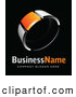 Vector Logo of a Shiny Chrome and Orange Ring, Above Space for a Business Name and Company Slogan on Black by Beboy