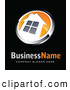 Vector Logo of a Shiny Orange and White House Button, Above Space for a Business Name and Company Slogan on Black by Beboy