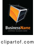 Vector Logo of a Shiny Orange Sketched Cube, Above Space for a Business Name and Company Slogan on Black by Beboy