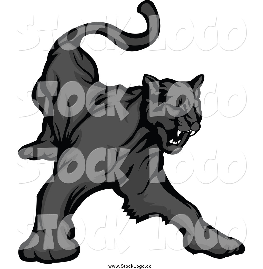 Black Jaguar Growl: Vector Clipart Of A Black Panther Growling Logo By